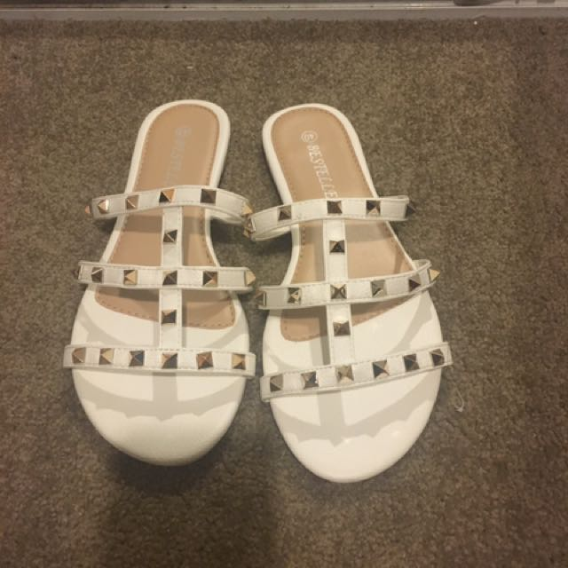 White Studded Sandals Slides