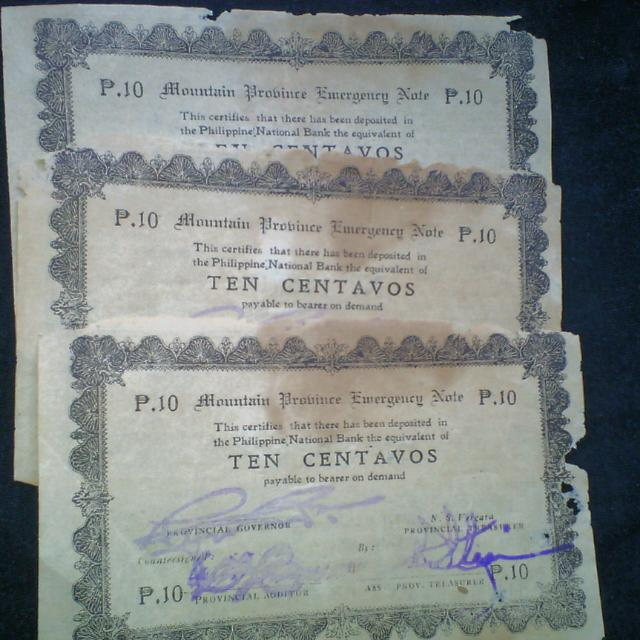 WW2 Mountain Province Ten Centavos Emergency Bills