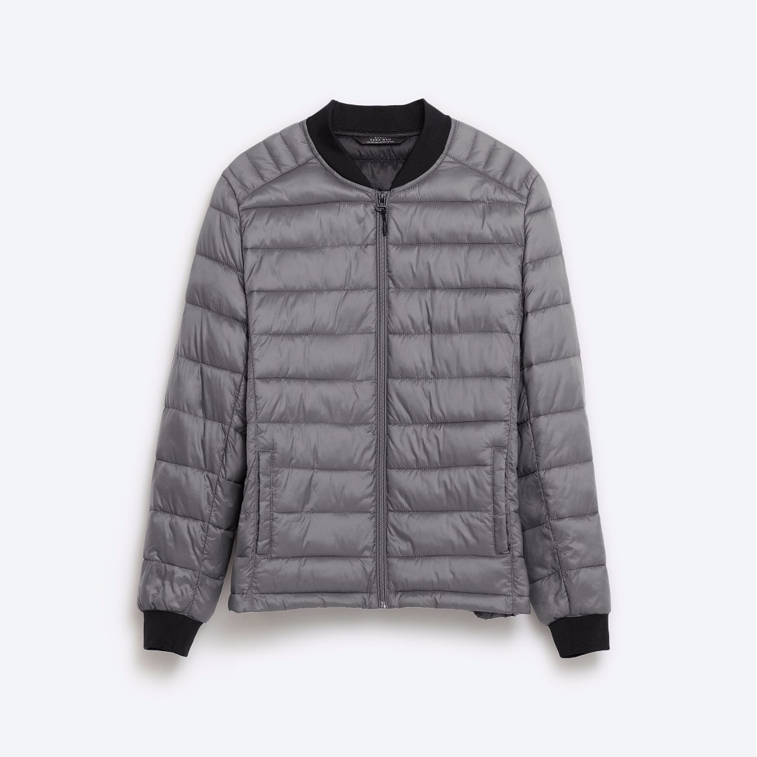 4c34ae016 Zara Man Ultralight Soft Packable Quilted Down Puffer Bomber Jacket ...
