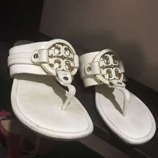 Tory Burch Amanda White Leather Thong Sandals