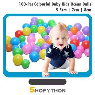 100-Pcs Colourful Plastic Education Baby Kids Ocean Balls 5.5cm 7.0cm 8.0cm Ball