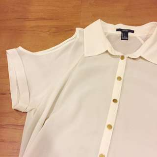 Forever 21 Sheer Cold Shoulder Button Down Polo