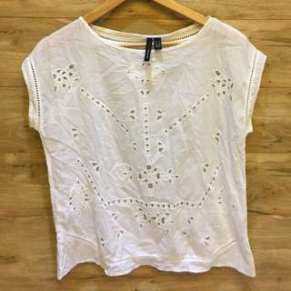 Mango White Eyelet Top