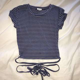 Stripped Wrap Tie Crop Top