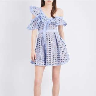 Reduced Self Portrait Guipure frill Lace Dress Blue