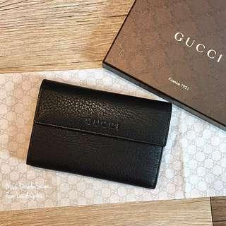 Gucci 真皮經典logo釦式中夾 黑色現貨在台