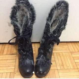 CHANEL Replica Black Fur Winter Boots