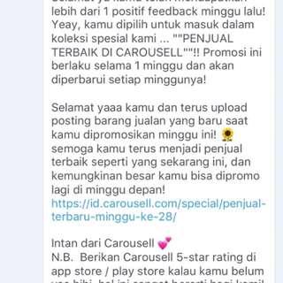 Penjual terbaik Carousell :)
