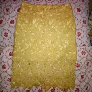 High Waist Lace Pencil Cut Skirt