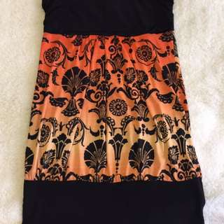 Orange & Black Tube Top