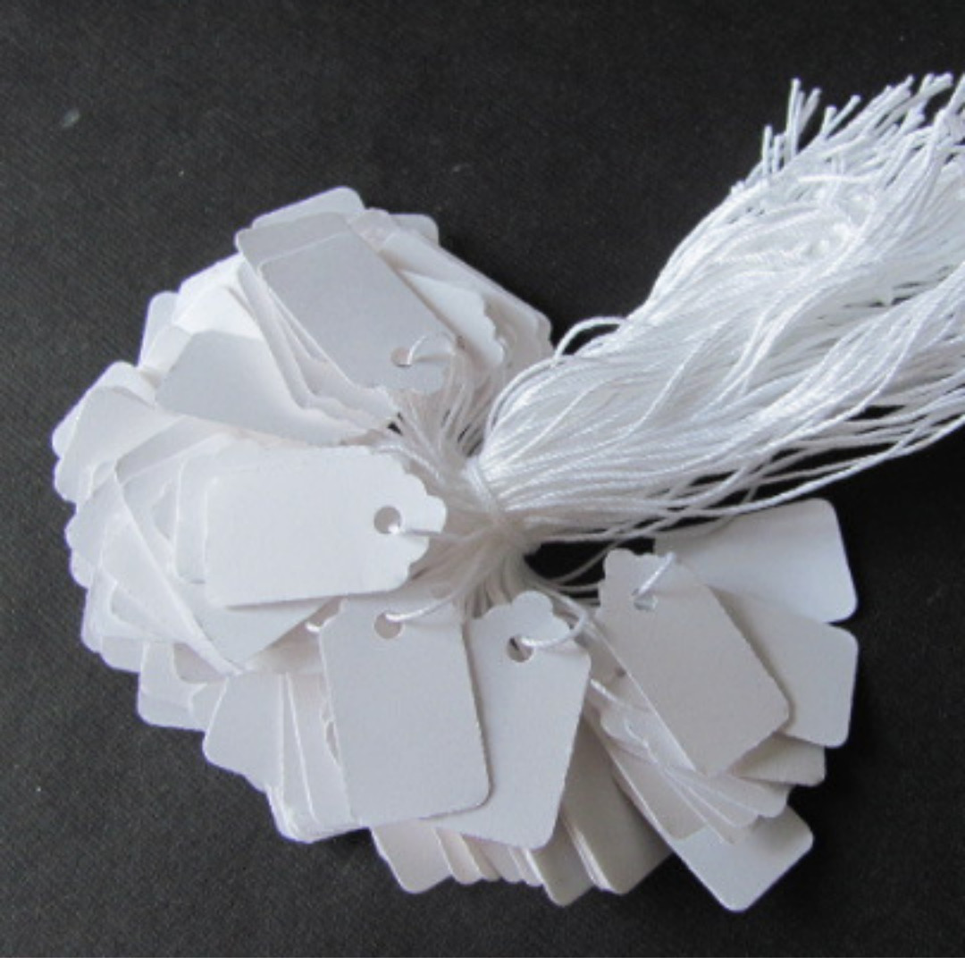 "100 pcs Price Gift Jewelry Hang Tags w/ KNOTTED String 5/8""x1-1/8"" - White"
