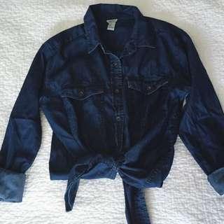 Darkwash Denim Style Button Shirt