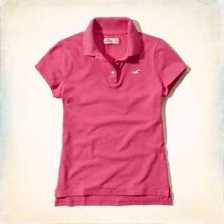 美國🇺🇸帶回Hollister 女生 桃紅Polo衫,尺寸S