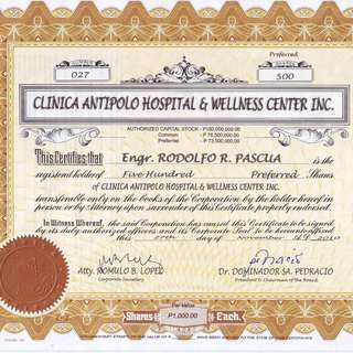 Shares of a New Hospital, CLINICA ANTIPOLO.