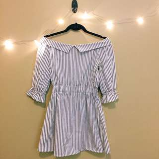 Off-the-shoulder Stripped Dress
