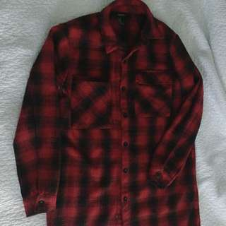 LONG Flannel-style Button Up