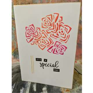 """It's a special occasion"" - embossed handmade card"