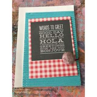 """Words to greet"" - Handmade card"