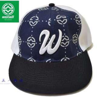 🚚 【黑人嚴選】WESTMILL 雙色 棒球帽 平帽沿 潮帽 白 深藍色 logo 激似華盛頓國民隊
