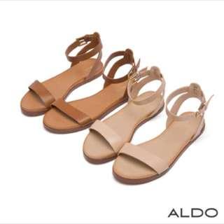 (正品)ALDO真皮鞋面一字繞帶涼鞋-氣質淺咖色