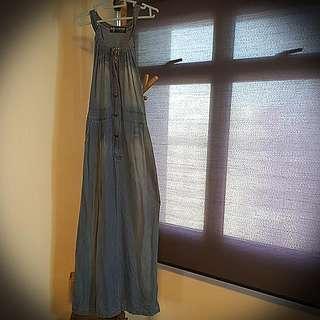Halter Neck Denim Maxi Dress
