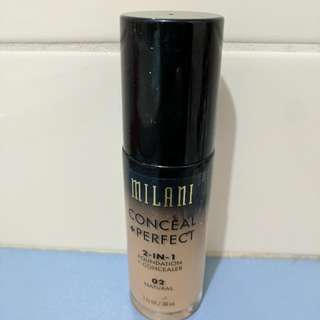 MILANI Foundation, Conceal And Perfect. Shade 02 natural.
