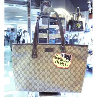 Gucci GG Logo Monogram Brown Pvc Shoulder Shopping Tote Hand Bag 古馳 啡色 防水物料 帆布 手挽袋 手袋 肩袋 袋 購物袋