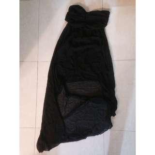 平口紗紡黑色不對稱小洋裝
