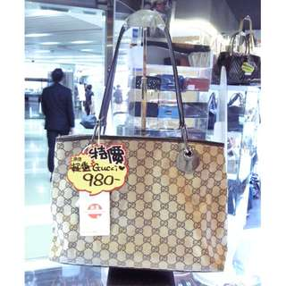 Gucci GG Logo Monogram Brown Canvas Shoulder Hand Bag 古馳 啡色 帆布 手挽袋 手袋 肩袋 袋