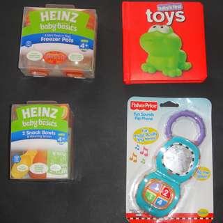 BRAND NEW Baby Mixed Items - Heinz Freezer Pots/Fisher Price