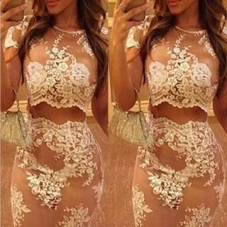 Lace Crop Top And Skirt Set
