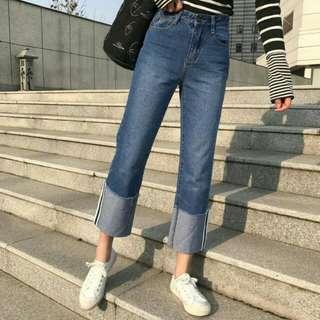 直筒 寬褲 牛仔褲