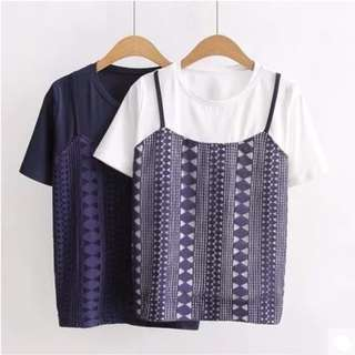 [PO] Two Piece Fake Short Sleeve Lace Crochet Blouse Top