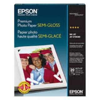 "Epson Premium Photo Paper Semigloss 8.5"" x 11"" 20 Sheets"
