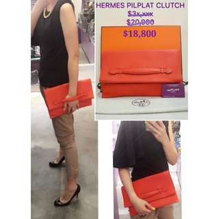90% New HERMES Pliplat Clutch Evercolour 紅色 手提包 手拿包 手袋 Red Leather Handbag
