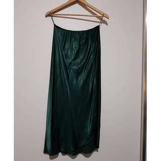 Topshop Satin Skirt in Green