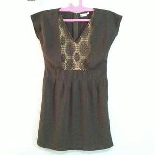 2 Item (Mini Dress & Brown Blazer)