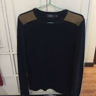 Topman Navy Blue Long Sleeves Shirt