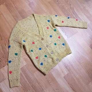 🚚 日本帶回 愛心芥末黃針織外套