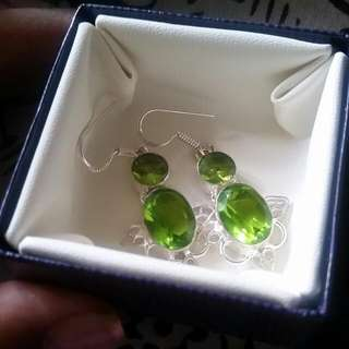 Brand New 925 Sterling Silver Peridot earrings. August birthstone