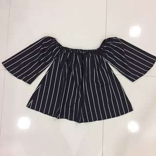 New : Off Shoulder (black Stripes)
