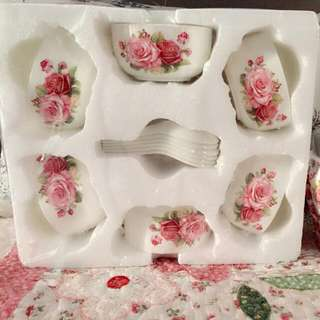 set soup bowl with spoon shabby chick