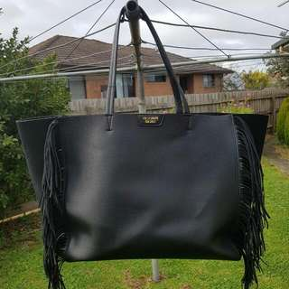 Victoria's Secret Black Fringe Tote Bag