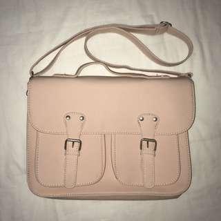 Typo Pink Leather Satchel