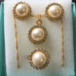 Faux Pearl Earring, Ring And Necklace Set