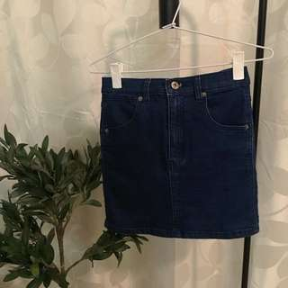 Ninie (size XS)- Navy Blue Denim Skirt