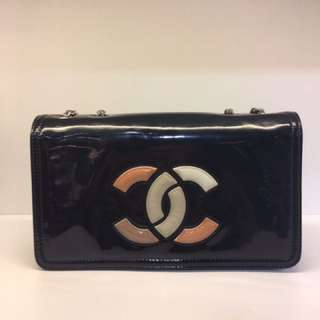正品 90%新 Chanel 黑色 彩色CC Logo 雙鍊上膊斜揹袋