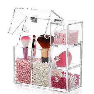 Acrylic Beauty Blender Brush Organizer Holder Makeup With Cover Transparent