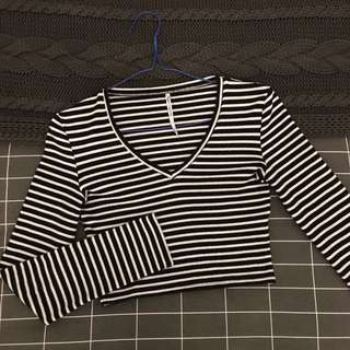 AGENT NINETYNINE Stripped Long Sleeved Crop Top