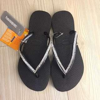 全新 havaianas 哈瓦士施華洛世奇水鑽夾腳拖鞋